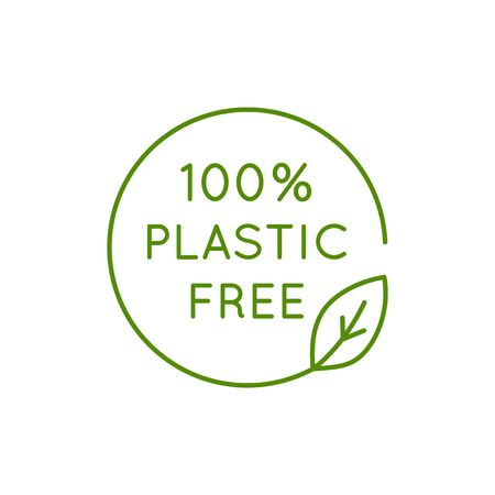 Icône vectorielle et modèle de conception dans un style linéaire simple - emblème 100 % sans plastique pour l'emballage de produits écologiques et biologiques Vecteurs