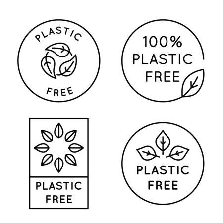 Icona vettoriale e modello di design in stile lineare semplice - emblema senza plastica al 100% per il confezionamento di prodotti ecologici e biologici