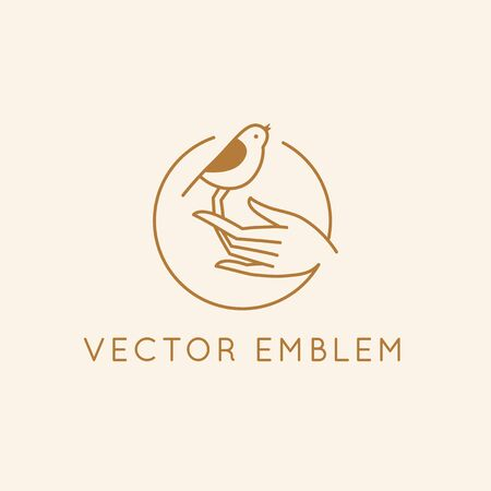 Vector icon and   design template in simple linear style - hand with a small bird, emblem or sign for  organic cosmetic products, hand crafted design or beauty studio Illustration