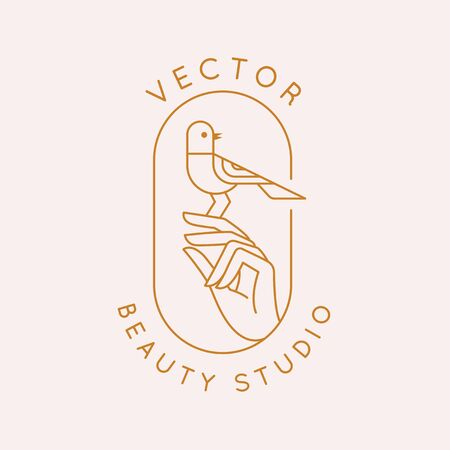 Vector icon and  design template in simple linear style - hand with a small bird, emblem or sign for  organic cosmetic products, hand crafted design or beauty studio