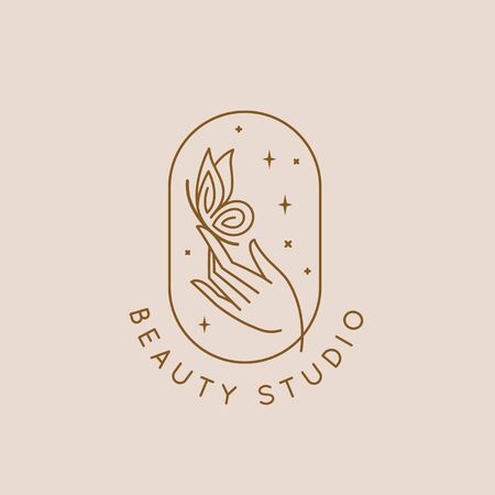 Vector icon and  design template in simple linear style - hand with a small butterfly, emblem or sign for  organic cosmetic products, hand crafted design or beauty studio Illustration