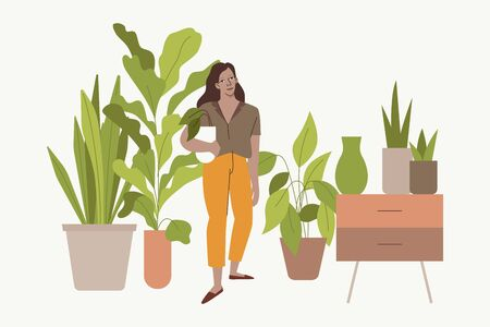 Vector illustration in flat simple style with female character - crazy plant lady, modern poster or print. Stylish girl, gardener taking care of home garden and plants, modern urban jungle