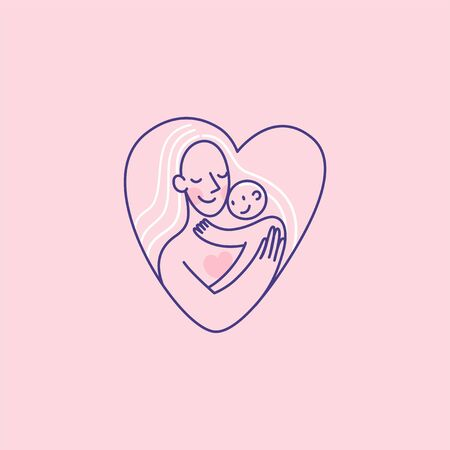 Vector  design template and emblem in simple line style - happy mother and child - badge for children store and baby care centers, babysitting and nanny service
