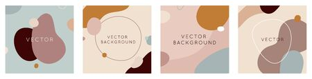 Vector set of abstract creative backgrounds in minimal trendy style with copy space for text - design templates for social media stories and posts - simple, stylish and minimal designs for invitations, banners, covers, flyers, packaging Illustration