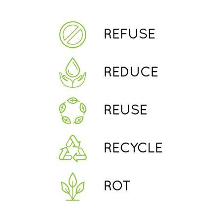 Ensemble vectoriel d'icônes linéaires simples - concept zéro déchet - 5 principes de vie durable et sans plastique - réduire, refuser, recycler, réutiliser, pourrir - consumérisme conscient