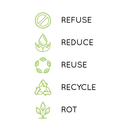 Vector set of linear simple icons - zero waste concept - 5 principles of sustainable and plastic free living - reduce, refuse, recycle, reuse, rot - conscious consumerism