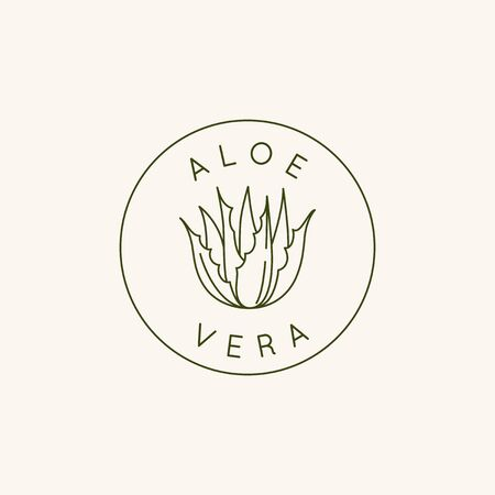 Vector design template and icon in linear style with aloe vera plant - emblem and badge for natural cosmetics packaging and beauty product