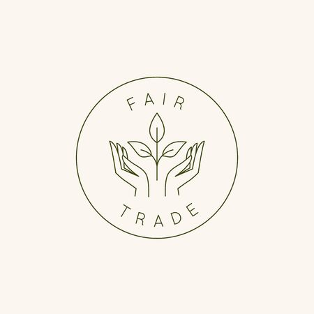Vector  design template and emblem in simple line style - fair trade- hands and plant Standard-Bild - 131104109