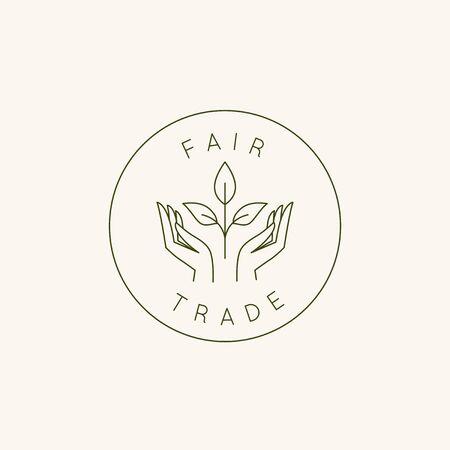 Vektor-Design-Vorlage und Emblem im einfachen Linienstil - Fair Trade-Hände und Pflanzen