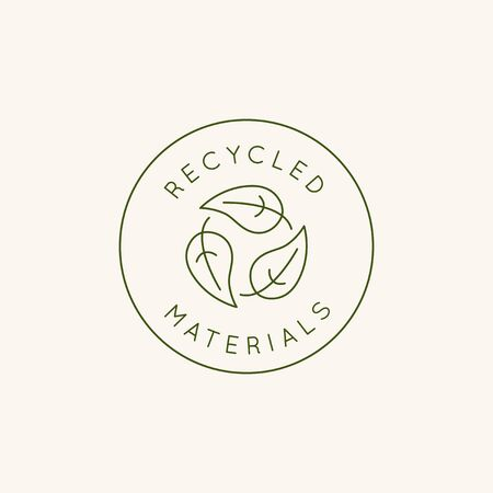 Modello di disegno vettoriale ed emblema in stile linea semplice - materiali riciclati - badge per prodotti e vestiti realizzati sostenibili