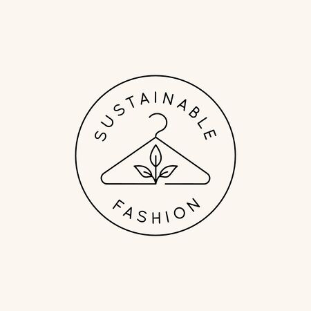 Vector   design template and emblem in simple line style - sustainable fashion badge