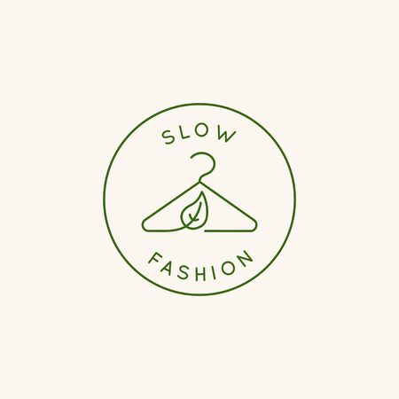 Vector   design template and emblem in simple line style - sustainable slow fashion badge