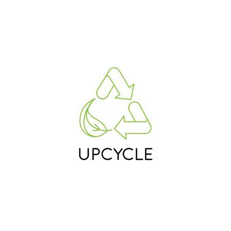 Modello di disegno vettoriale ed emblema in stile linea semplice - upcycle - simbolo di riciclo con foglia - concetto di sviluppo sostenibile