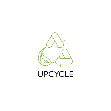 Vector   design template and emblem in simple line style - upcycle - recycle symbol with leaf - sustainable development concept Vectores