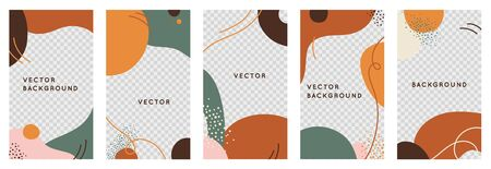 Vector set of abstract creative backgrounds in minimal trendy style with copy space for text and photo - design templates for social media stories a  - simple, stylish and minimal designs for invitations, banners, covers, flyers, packaging Иллюстрация