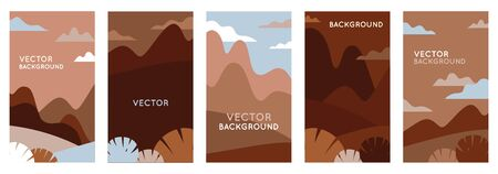 Vector illustration in trendy flat style and with copy space for text - landscape with mountains and hills- vertical banners, backgrounds and wallpapers for social media stories, banners, greeting cards, posters