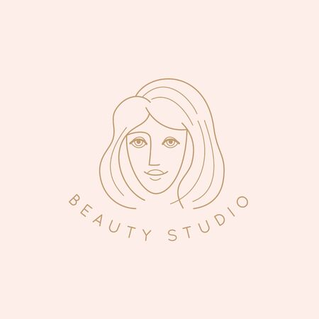 Vector abstract logo design template in trendy linear minimal style, emblem for beauty studio and cosmetics - female portrait, beautiful woman's face - badge for make up artist, fashion stylist, for natural cosmetics and skincare