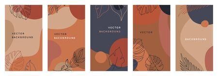 Ensemble d'images vectorielles d'arrière-plans créatifs abstraits dans un style tendance minimal avec espace de copie pour le texte - modèles de conception pour les histoires de médias sociaux - conceptions de papier peint simples, élégantes et minimales pour les invitations, bannières, couvertures, flyers, emballages