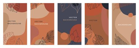 Vector set of abstract creative backgrounds in minimal trendy style with copy space for text - design templates for social media stories - simple, stylish and minimal wallpaper designs for invitations, banners, covers, flyers, packaging Illusztráció