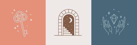 Deur en sleutel - vector abstracte en branding ontwerpsjablonen in trendy lineaire minimalistische stijl, embleem voor woonaccessoires en interieurwinkel, klein hotel en appartementen, badge voor lokale handgemaakte bedrijven en handgemaakte meubels en sieraden
