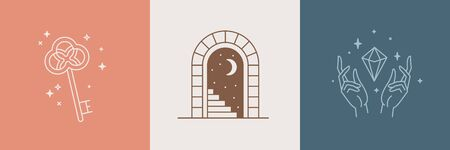 Door and key - vector abstract  and branding design templates in trendy linear minimal style, emblem for home accessories and interior shop, small hotel and apartments, badge for local hand crafted business and hand made furniture and jewellery Illustration
