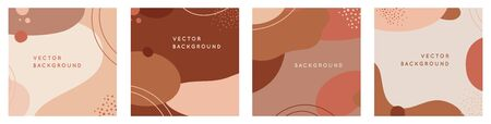 Vector set of abstract creative backgrounds in minimal trendy style with copy space for text - design templates for social media stories - simple, stylish and minimal wallpaper designs for invitations, banners, covers, flyers, packaging 向量圖像