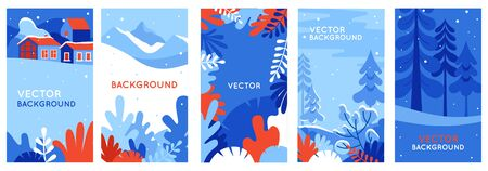 Winter landscapes - vertical banners and wallpaper for social media stories. Vector illustration in flat simple style - design templates with copy space for text - merry Christmas greeting cards and posters