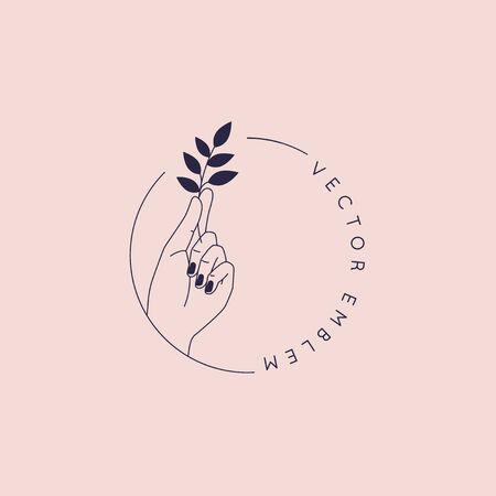 Logo vettoriale astratto e modello di design del marchio in stile minimal lineare alla moda - concetto di foglia che tiene la mano per la bellezza naturale e prodotti biologici per la cura della pelle, moda e gioielli fatti a mano