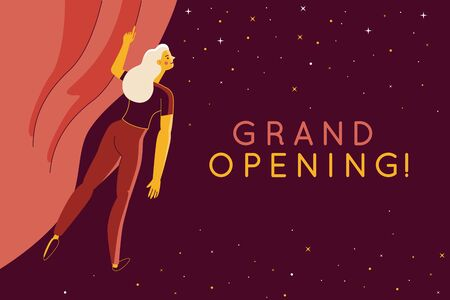 Vector illustration with female character in simple flat style - woman opening red curtain - presentation announcement banner design template with copy space for text