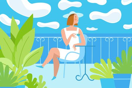 Vector illustration in trendy flat and simple style -  summer landscape and woman enjoying vacation and drinking coffee - background for banner, greeting card, poster and advertising