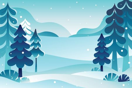 Winter landscape vector illustration with copy space for text - new year and Christmas holiday greeting card or banner design template - natural scene with pine trees and mountains and snow - abstract  イラスト・ベクター素材