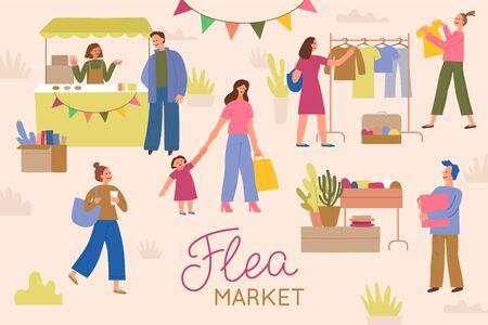 Vectorillustratie in vlakke eenvoudige stijl met stripfiguren - rommelmarkt poster en banner - mensen kopen en verkopen van tweedehands kleding en dingen op straatmarkt