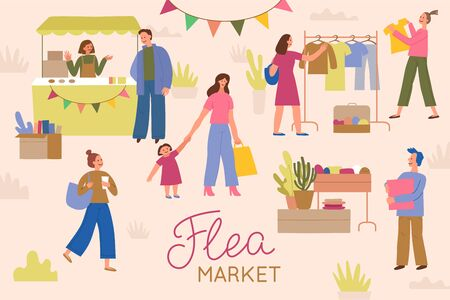Vektorgrafik im flachen, einfachen Stil mit Comicfiguren - Flohmarktplakat und Banner - Leute, die Second-Hand-Kleidung und Dinge auf der Straßenmesse kaufen und verkaufen