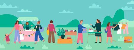 Ilustración de vector de estilo plano simple con personajes de dibujos animados - cartel de mercado de pulgas y pancarta - gente que compra y vende ropa de segunda mano y cosas en la feria de la calle
