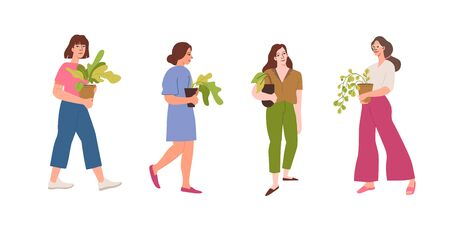Vector set of character illustrations in simple flat style - girls holding house plants in pots - urban jungle concept