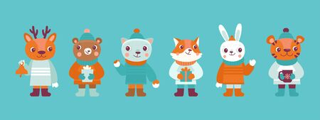 Vector illustration in flat simple style for Christmas and New Year greeting card - funny cartoon animals in winter clothes and hats  Stock Illustratie