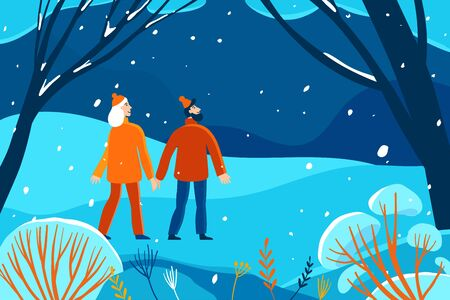 Vector illustration in flat linear style - winter illustration - landscape with happy man and woman walking together - new year greeting card