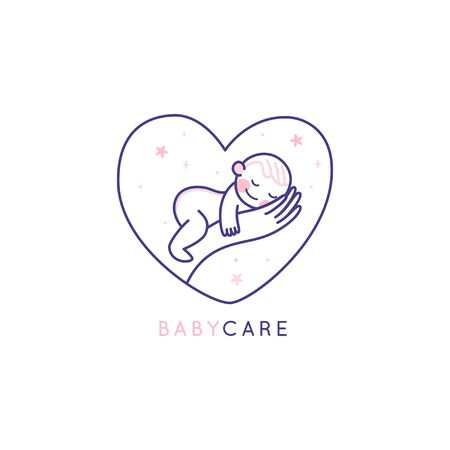 Vector   design template and emblem in simple line style - happy smiling baby - badge for children store and baby care centers, babysitting and nanny service Ilustracja