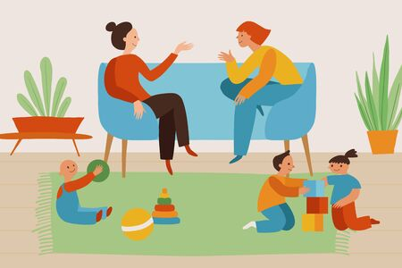 Vector illustration in flat linear style - two women and three kids in cozy simple interior playing and chatting together