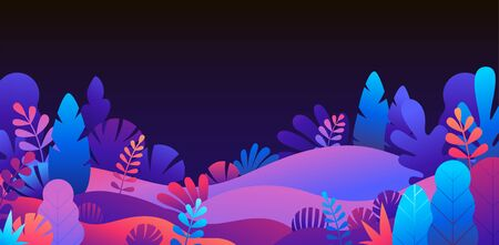 Vector abstract landscape with copy space for text - vibrant gradient horizontal banner with leaves and plants