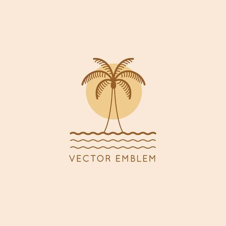 Vector   design template with palm tree - abstract summer and vacation badge and emblem Zdjęcie Seryjne - 140828453
