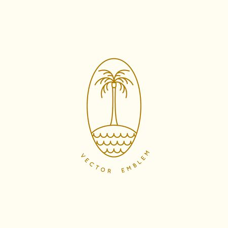 Vector   design template with palm tree - abstract summer and vacation badge and emblem