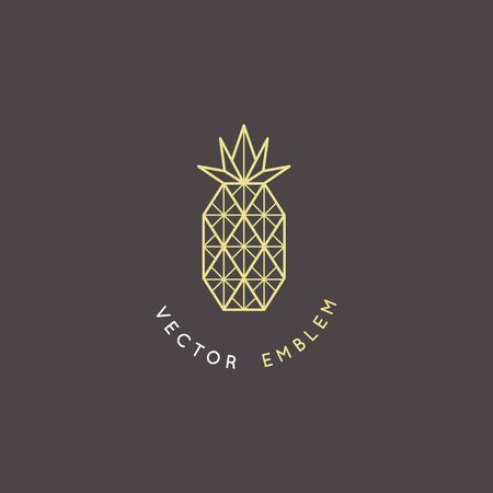 Vector abstract   and branding design template in trendy linear minimal style - pineapple