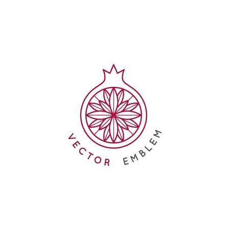 Vector abstract   and branding design template in trendy linear minimal style - pomegranate Zdjęcie Seryjne - 140829060