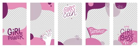 Vector abstract social media stories and post wallpapers with girl power badges and phrases - template with copy space for photo and text girls can and girl boss Ilustracja