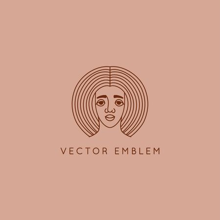 Vector abstract   design template in trendy linear minimal style, emblem for beauty studio and cosmetics - female portrait, beautiful afro womans face - badge for make up artist, fashion stylist, for natural cosmetics and skincare Ilustracja