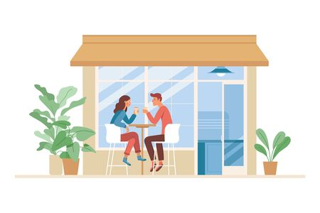 Vector illustration in simple flat style with characters - coffee shop interior with people meeting and drinking coffee Ilustracja