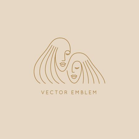 Vector abstract   design template in trendy linear minimal style, emblem for beauty studio and cosmetics -  female portraits, beautiful womens face - sisters or twins - badge for make up artist, fashion stylist, for natural cosmetics and skincare