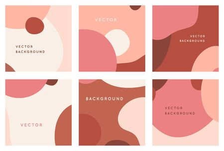 Vector set of abstract creative backgrounds in minimal trendy style with copy space for text - design templates for social media posts and stories - simple, stylish and minimal wallpaper designs for invitations, banners, covers, flyers, packaging Ilustracja