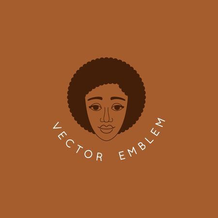 Vector abstract female portrait, beautiful afro womans face